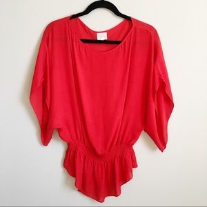 Parker Red silk blouse with elastic waist boho